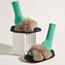 Kunstpelz Sandalen mit Criss-Cross