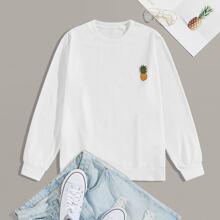 Men Pineapple Print Long Sleeve Sweatshirt