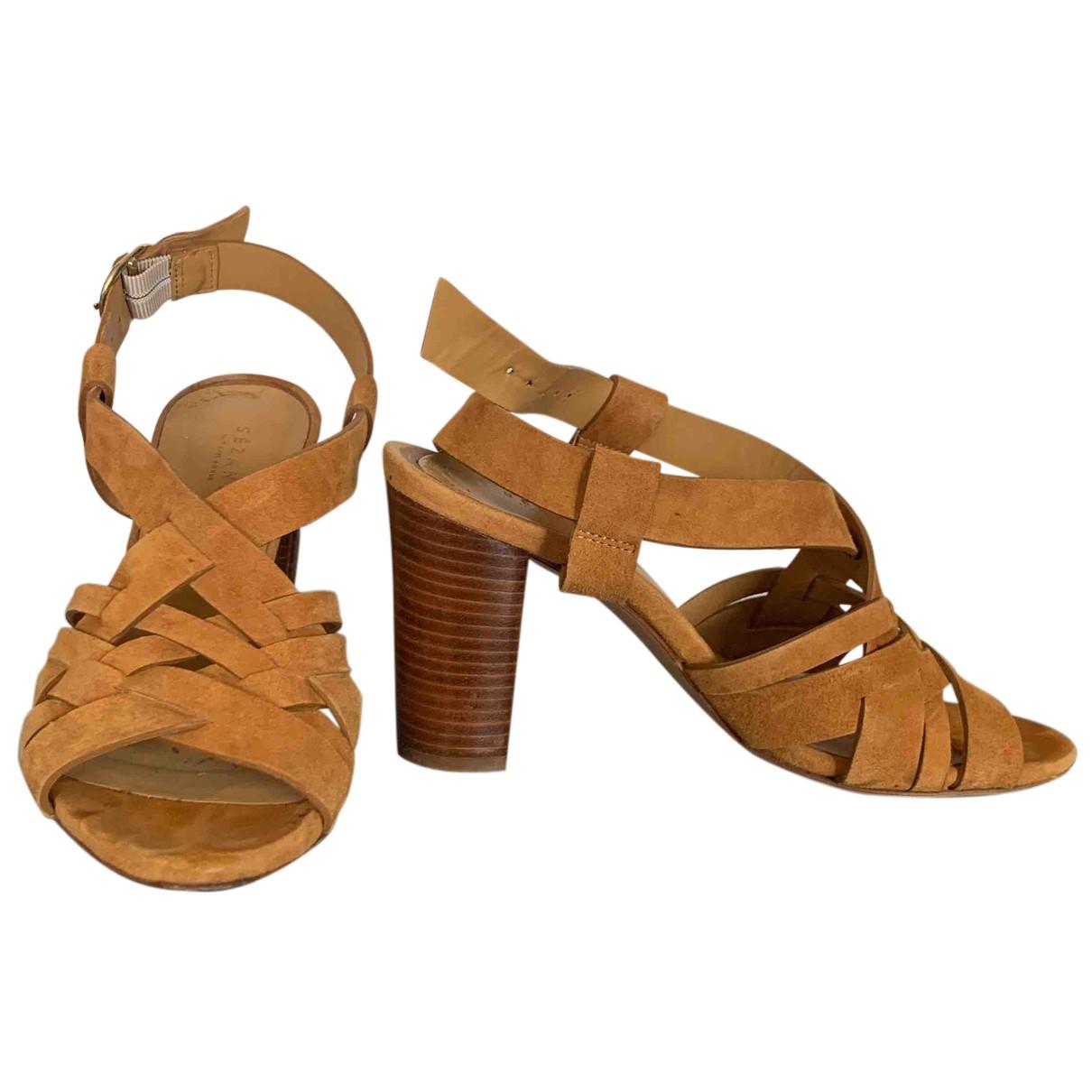 Sezane - Sandales   pour femme en suede - camel