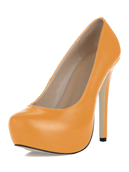 Milanoo Women's Platform Shoes Round Toe Stiletto Heel Pumps