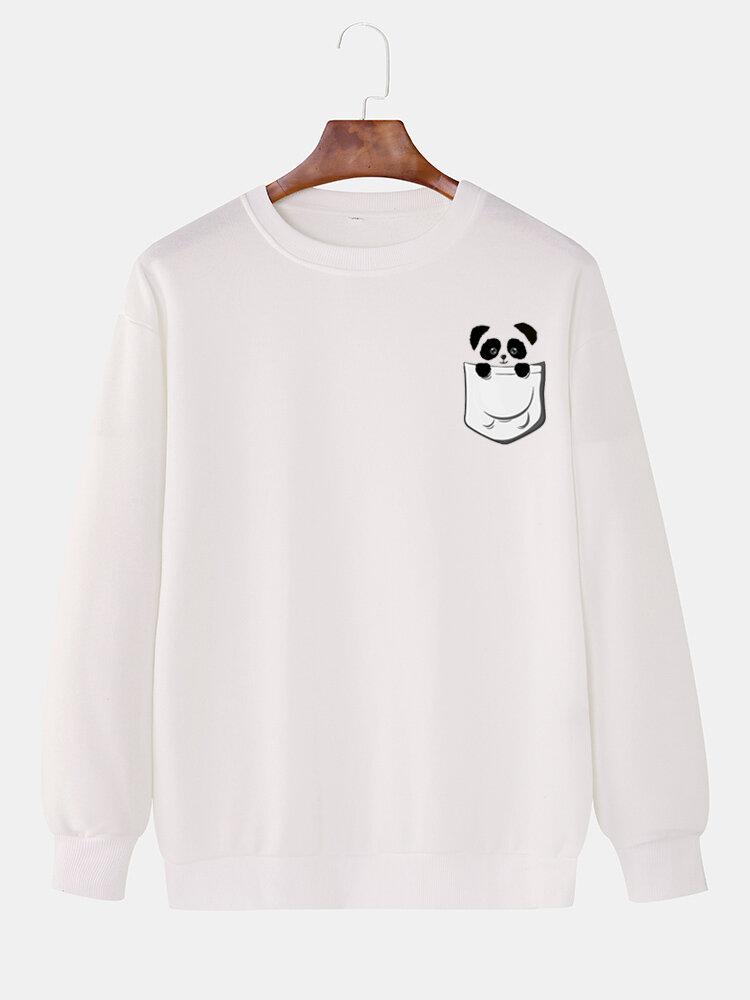 Mens Cotton Cartoon Animal Print Drop Shoulder Pullover Sweatshirts