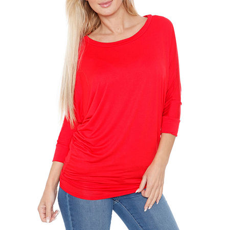 White Mark-Womens Boat Neck 3/4 Sleeve T-Shirt, Large , Red