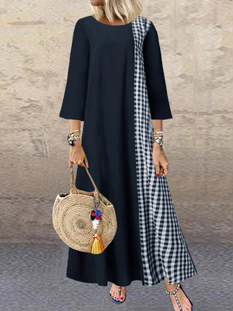 Plaid Patchwork Plus Size Casual Dress for Women