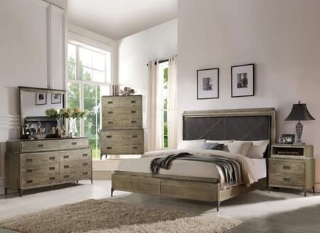 Athouman Collection 23910QSETPD 5 PC Bedroom Set with Queen Size Bed + Dresser + Mirror + Chest + USB Power Dock Nightstand in Weathered Oak