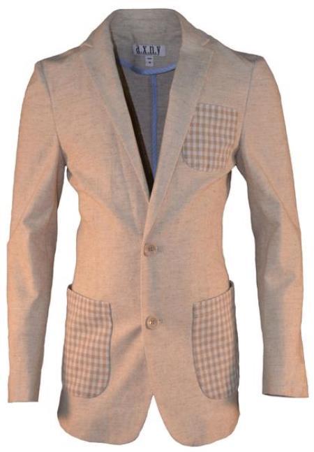 Boys 2 Button Single Breasted Tan Linen Blazer