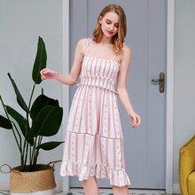 PJM Nachtkleid mit Guipure Spitzeneinsatz, Ruesche, Blumen & Streifen Muster