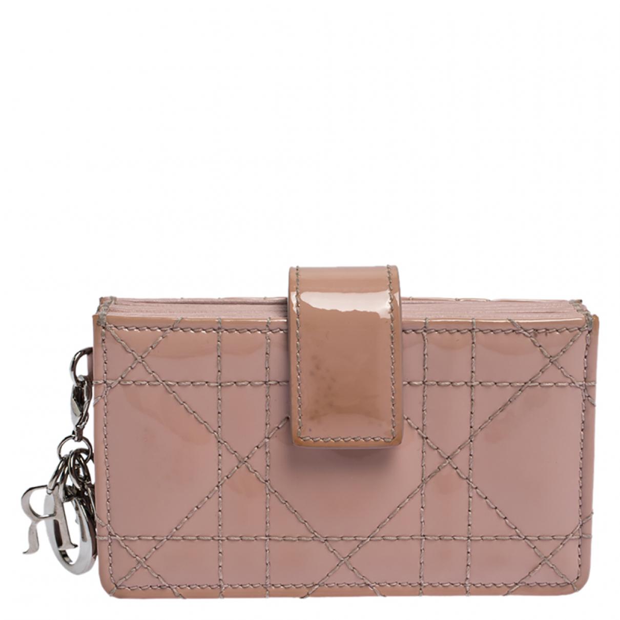 Dior \N Portemonnaie in  Rosa Lackleder