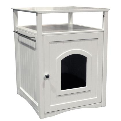 MPS006 Cat Washroom Litter Box Cover / Night Stand Pet House  White with Stainless Steel hardware and Foldable for easy