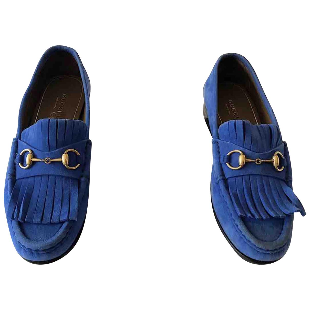 Gucci \N Blue Suede Flats for Women 37 EU