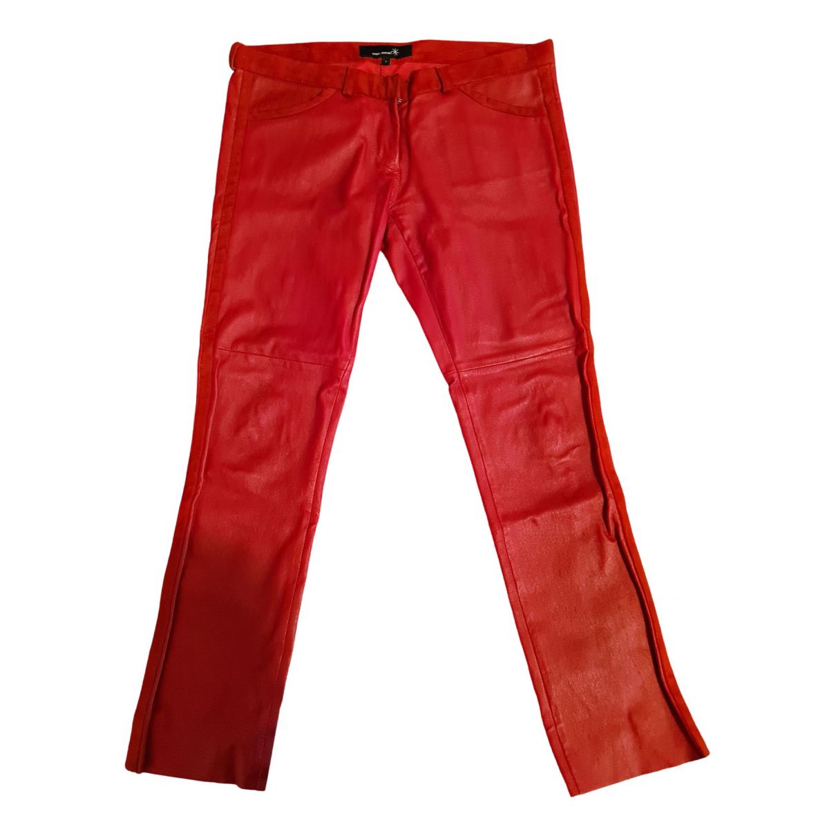 Isabel Marant \N Red Leather Trousers for Women 36 FR