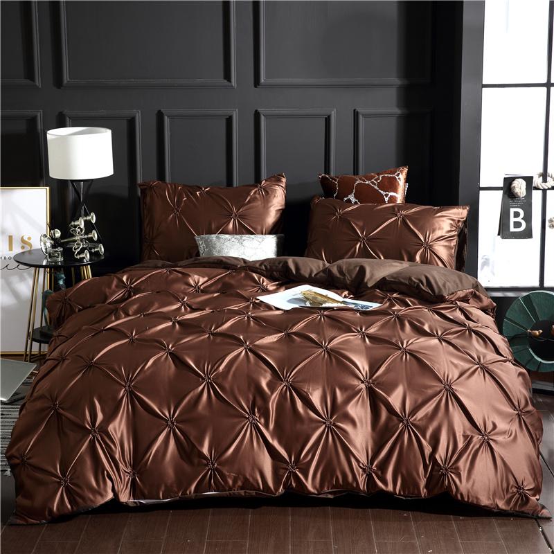 Luxurious Pintuck Pleat Design Plain Style Polyester 3-Piece Bedding Sets/Duvet Covers