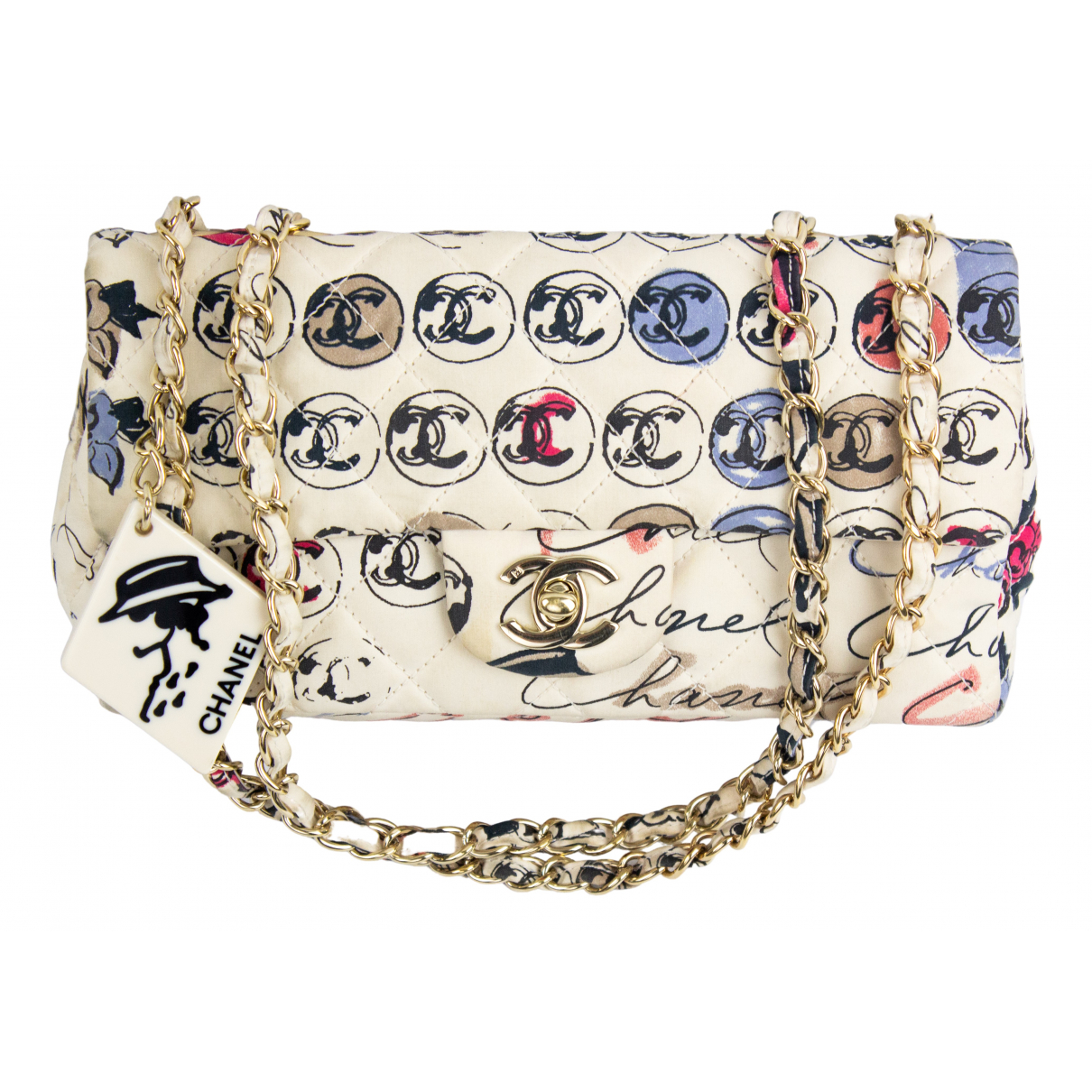 Chanel Timeless/Classique White Cloth handbag for Women N
