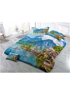 Seaside City Wear-resistant Breathable High Quality 60s Cotton 4-Piece 3D Bedding Sets