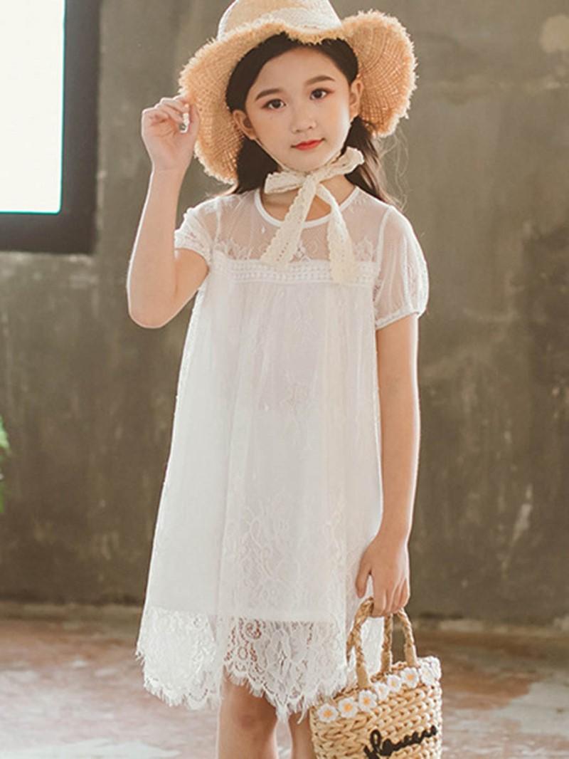 Ericdress Lace Plain Scoop Flower Girl's Dress