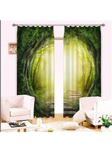 3D Ecological Corridor and Wooden Road Printed Natural Scenery Custom Curtain for Living Room