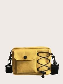 Drawstring Canvas Crossbody Bag