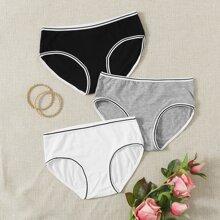 3pack Contrast Binding Panty Set