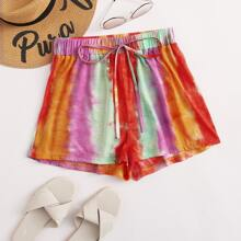 Tie Dye Drawstring Waist Track Shorts