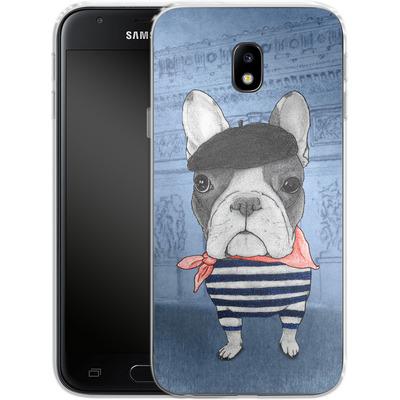 Samsung Galaxy J3 (2017) Silikon Handyhuelle - French Bulldog with Arc de Triomphe von Barruf