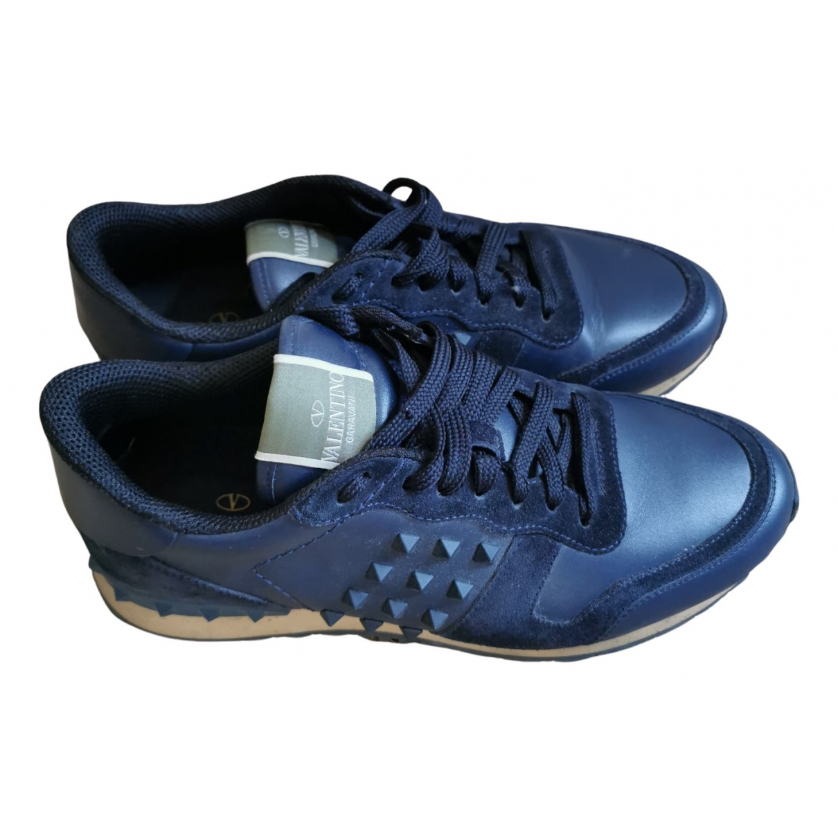 Valentino Garavani Rockrunner Navy Leather Trainers for Men 41 IT
