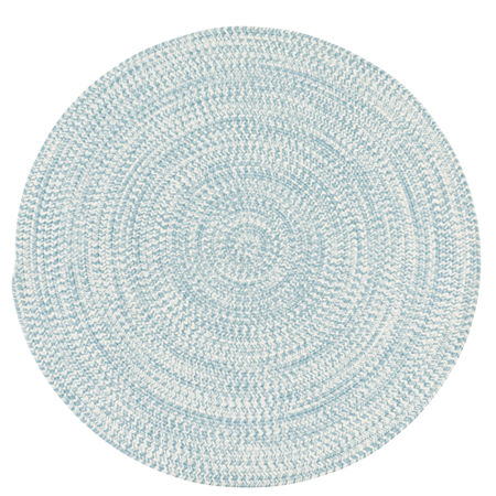 Colonial Mills Biscayne Tweed Braided Round Reversible Indoor/Outdoor Rugs, One Size , Blue