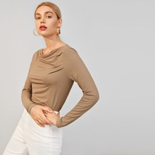 Cowl Neck Solid Tee
