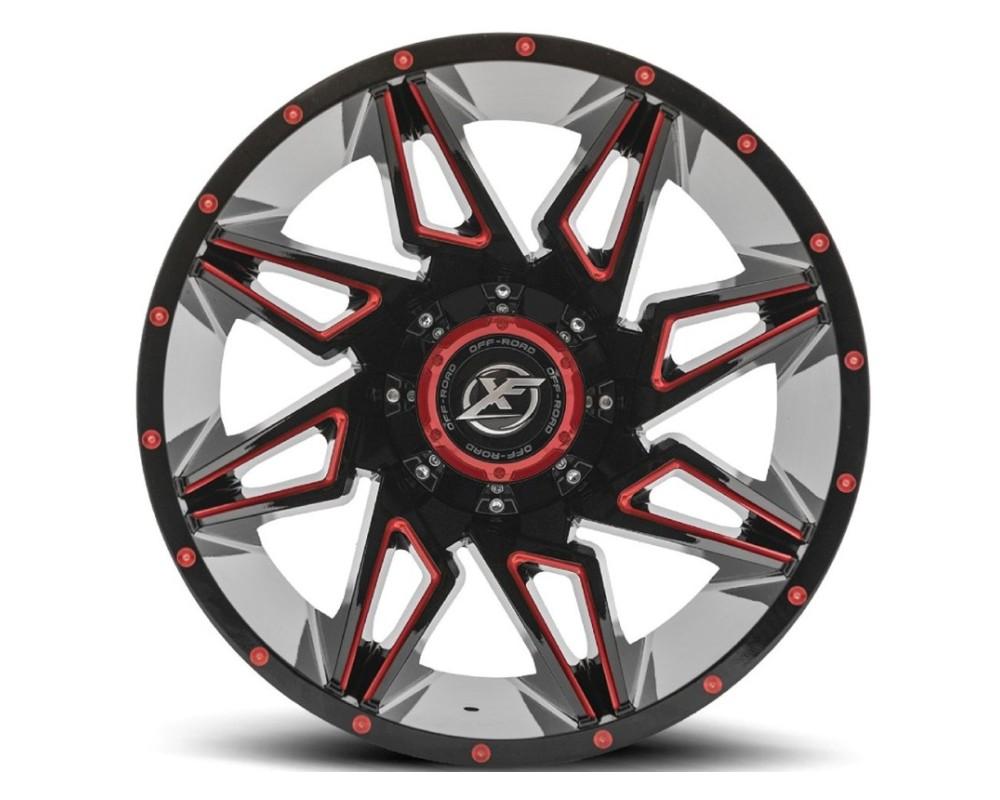 XF Off-Road XF-218 Wheel 20x9 5x127|5x139.7 0mm Gloss Black w/ Red Milling