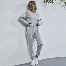 Drop Shoulder Solid Crop Sweatshirt & Drawstring Sweatpants