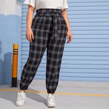 Plus High Waist Belted Plaid Carrot Pants