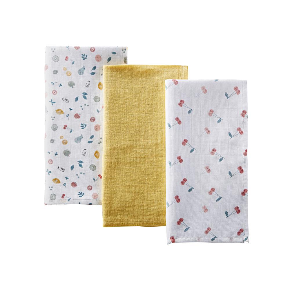 Babywindeln aus Baumwolle, gelb mit bunten Motiven (x3)