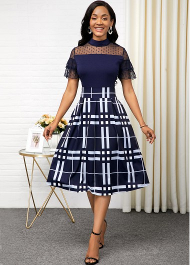Women'S Navy Blue Illusion Mock Neck Vintage A Line Cute Dress Short Sleeve Plaid Print Lace Panel Midi Cocktail Party Dress By Rosewe - 12