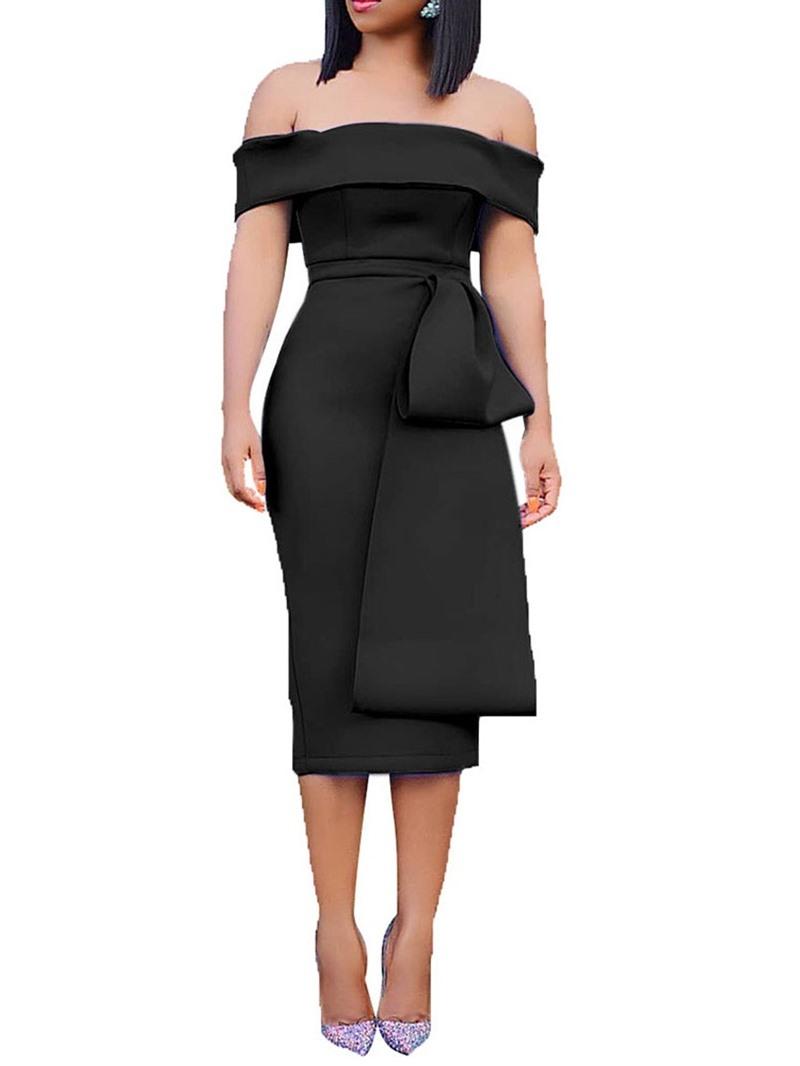 Ericdress Short Sleeve Split Mid-Calf Off Shoulder High Waist Dress