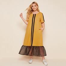 Kleid mit Kontrast Band und Organza Schosschen