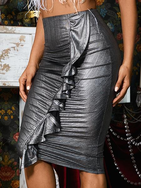 Yoins Silver Ruffle Trim Ruched Design Sequins Skirt