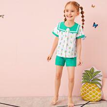 Schlafanzug Set mit Ananas Muster