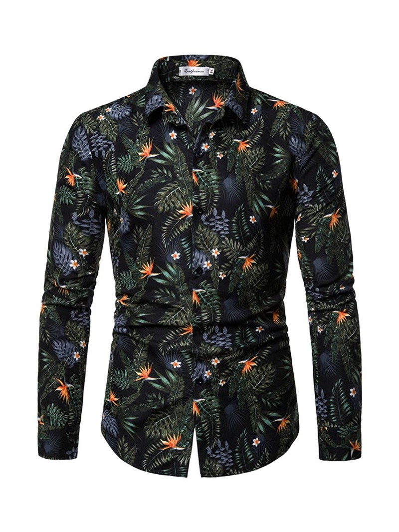 Ericdress Lapel Floral Single-Breasted Mens Slim Shirt