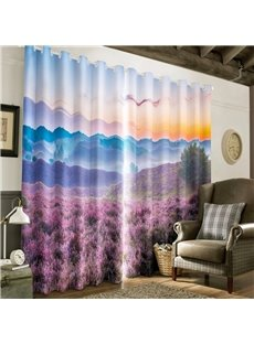 3D Fields of Purple Lavenders Printed Romantic and Pastoral Style 2 Pieces Curtain