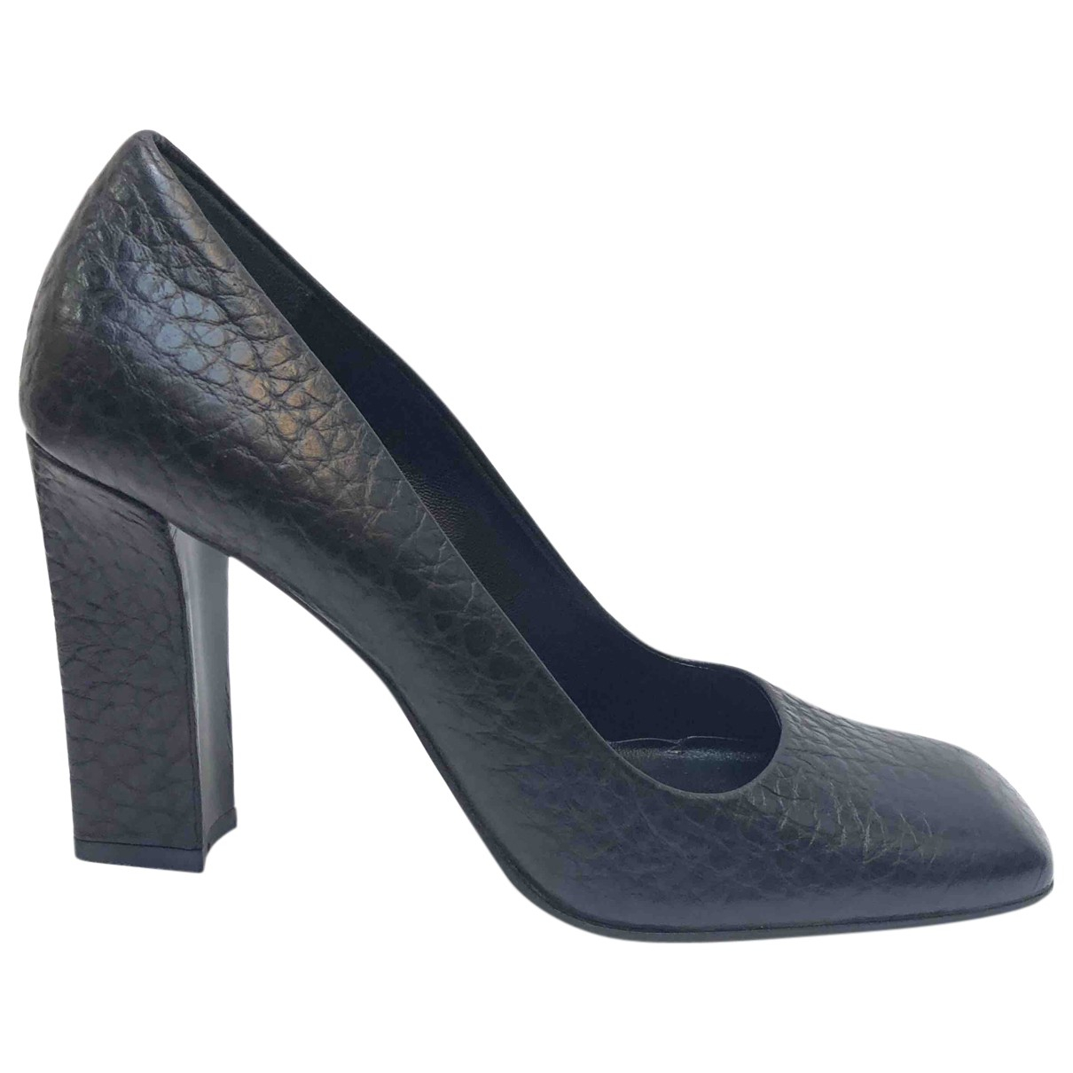 Prada N Black Leather Heels for Women 36 EU