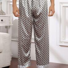 Pantalones de pijama de saten de lunares