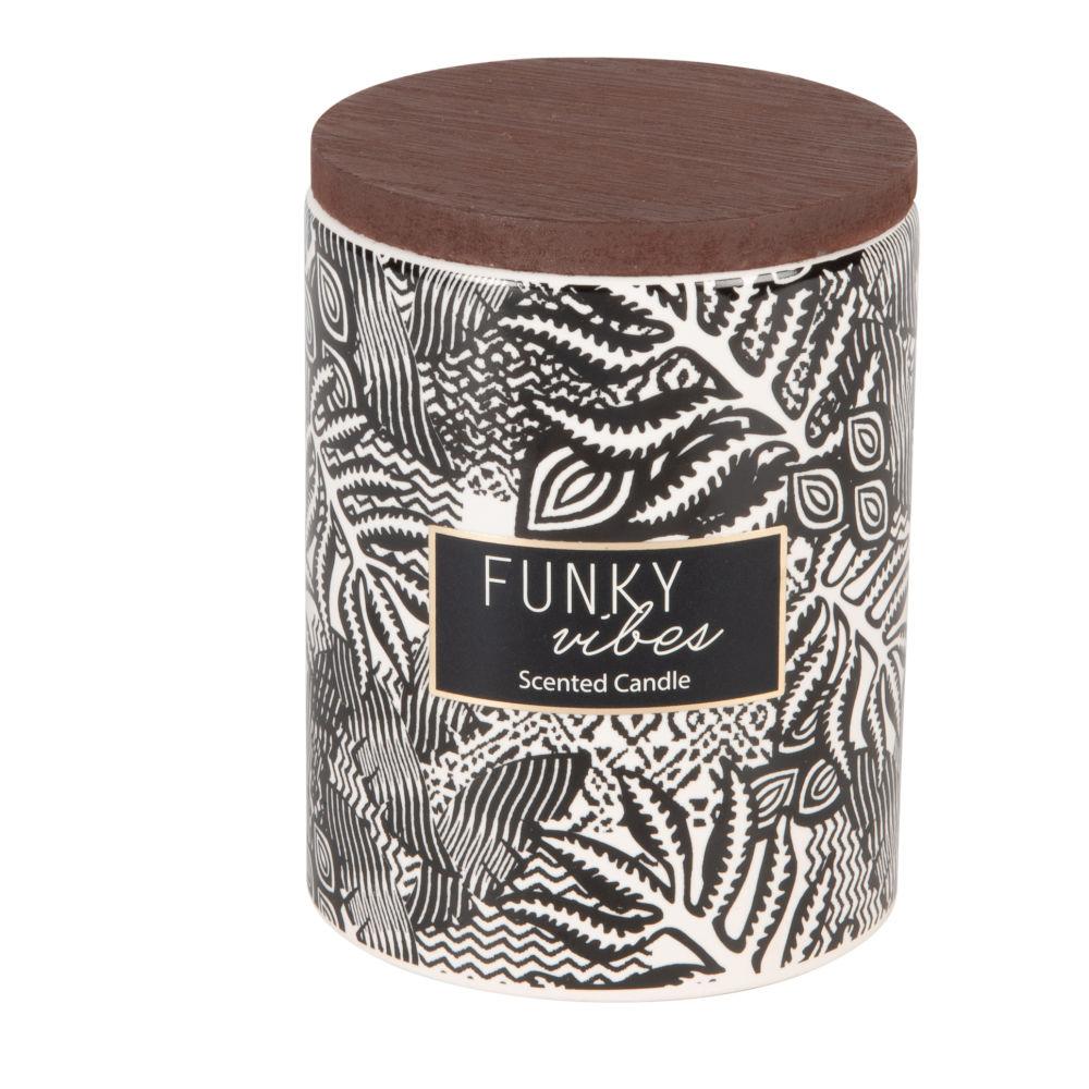 Duftkerze im schwarz und weiss bedruckten Keramikgefaess