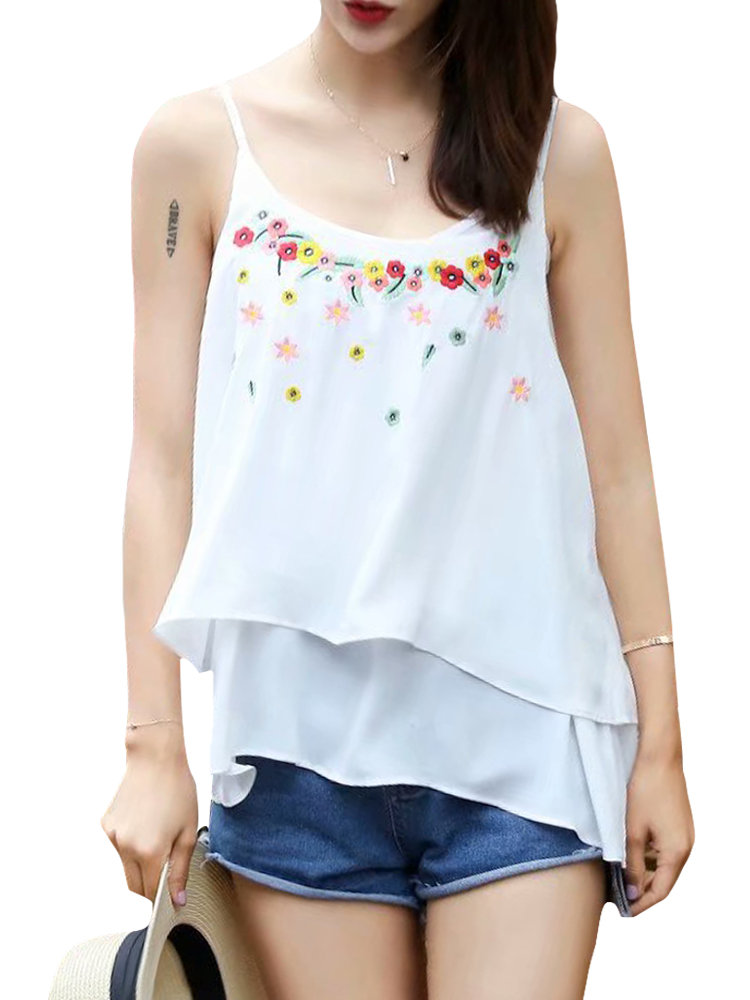 Casual Flower Embroidery Tank Tops