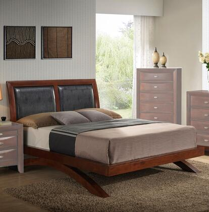 Emily Arch Collection EM1650-K King Size Platform Bed with Faux Leather Headboard Panels  Low Profile Footboard  Arched Support Base and Tropical