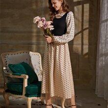 Contrast Panel Polka Dot A-line Dress