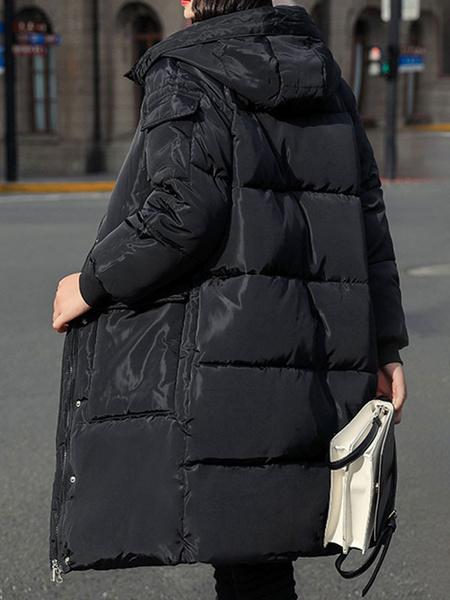 Milanoo Women\'s Puffer Coats Ecru White Hooded Zipper Long Sleeves Winter Outerwear