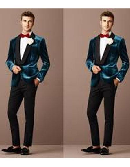 Teal Blue Tuxedo For Men