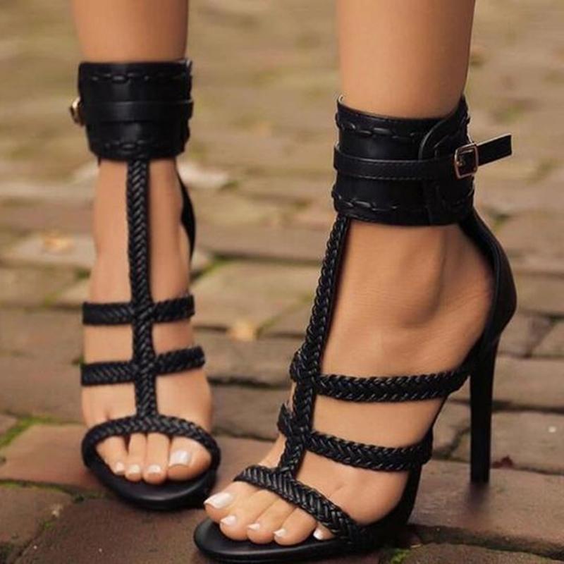Ericdress Plain Open Toe Buckle Heel Sandals