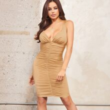Plunging Neck Crisscross Back Ruched Dress