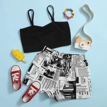 Crop Cami Top & Shorts Set mit Zeitung Muster