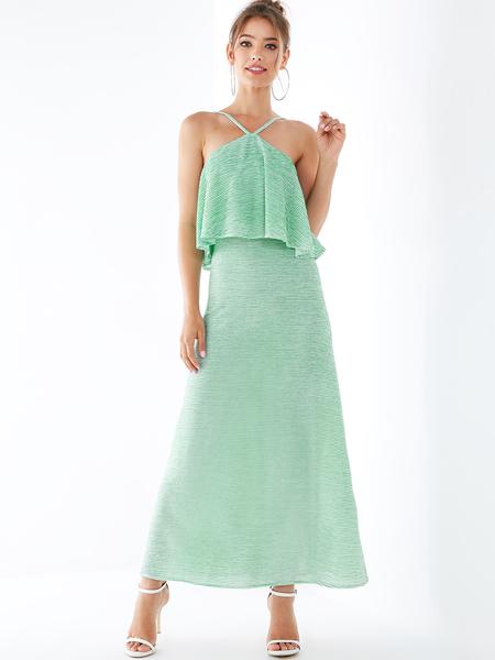 YOINS Green Ruffle Trim Sleeveless Spaghetti Strap Dress