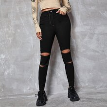 Solid Ripped Skinny Pants